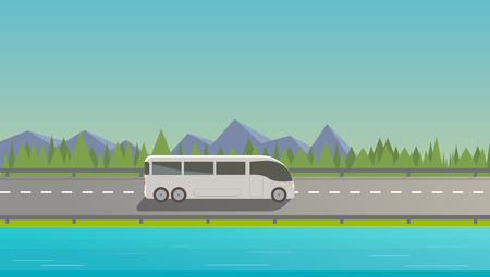 autobahn: Touristic white bus driving on freeway. Nature background mountains trees lake.