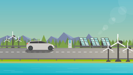 Flat illustration of electromobile on highway near windmill, solar panels and beautiful nature.
