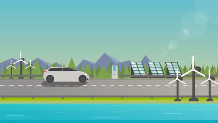 Vlakke illustratie van electromobile op de snelweg in de buurt van windmolen, zonnepanelen en prachtige natuur.