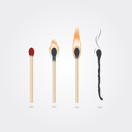 Four stages of burning matches. Realistic vector illustration. Illustration