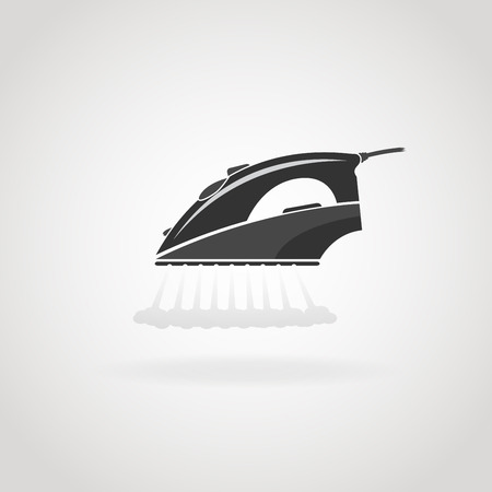 steam iron: Black icon of household iron with steam.