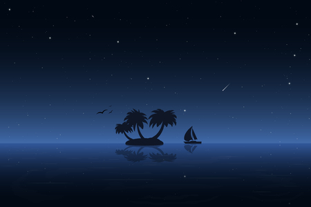romantic getaway: Small tropic island at night. Moored boat, birds, palm and stars.