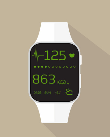 Flat illustration of sport watch with heart rate, calories burned and weather. Vectores