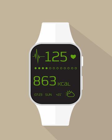 icono deportes: Ilustración plana de reloj deportivo con el ritmo cardíaco, las calorías quemadas y el tiempo.
