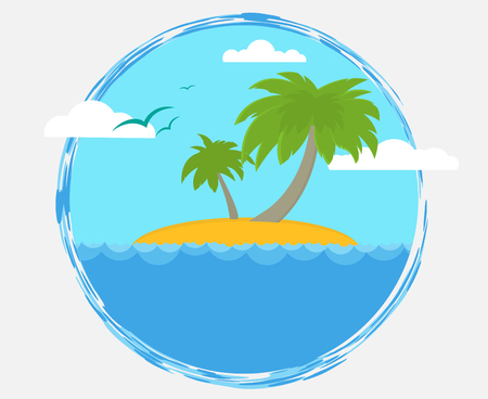 tourism: Simple flat label with tourist desert island and ocean. Illustration