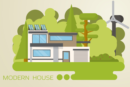 Contemporary, eco house design in the wood with solar panels and wind turbine.