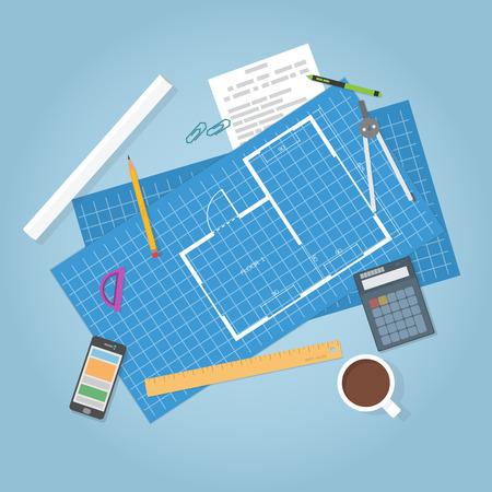 Architectural planning. Bovenaanzicht. Flat artikelen, bouwer blauwdrukken van het huis. Engineer data.