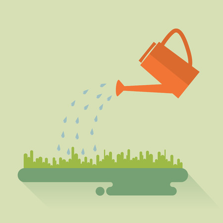 Flat color watering can sprays water drops above lawn.