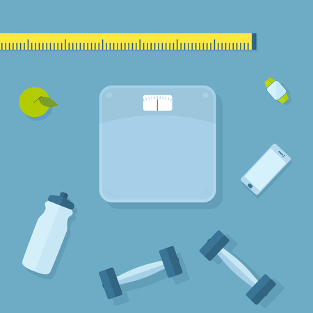 Set of fitness items. Scales, dumbbells, smart-phone, sport watch, water bottle and apple.