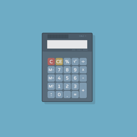 math icon: Flat icon of financial calculator. Buttons with rounded corners.