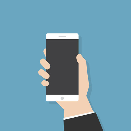smartphone in hand: Simple flat illustration. Hand holding empty smartphone. Phone application template. Illustration