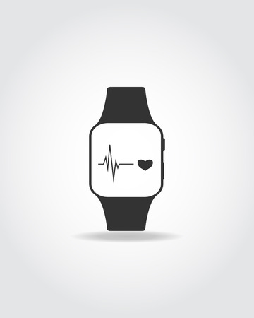 Black icon of sport smart watch. Heart icon and digram. Illustration