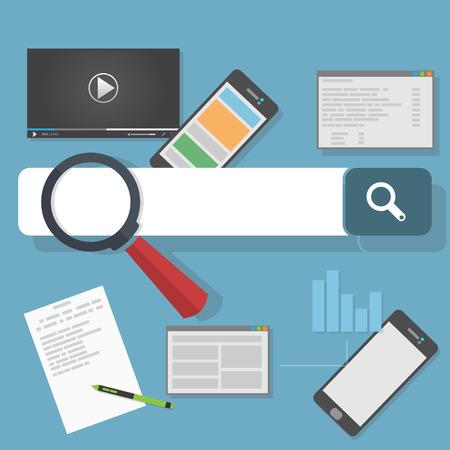 optimization: Search engine optimization illustration. SEO analytics and web development flat icons.