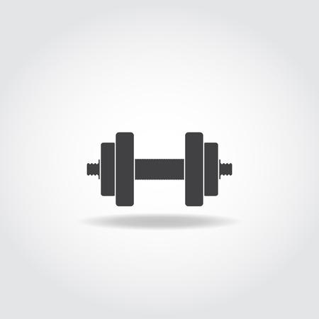 gym equipment: Black realistic dumbbell icon. Gym equipment. Illustration