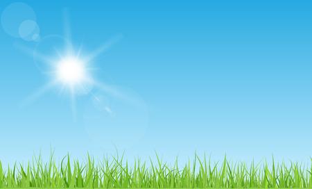 sol caricatura: Tomar el sol con rayos y destellos en el cielo azul. césped de hierba verde.