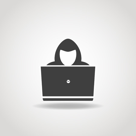 Black icon of hacker with big laptop. Illustration