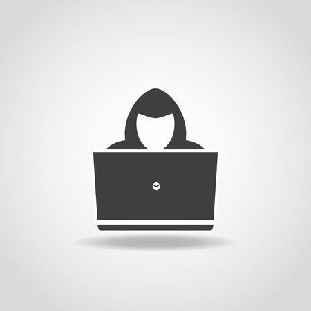 Black icon of hacker with big laptop. Illustration
