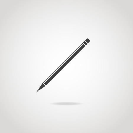collet: Black icon of wooden thin pencil. Rubber and sharp tip.