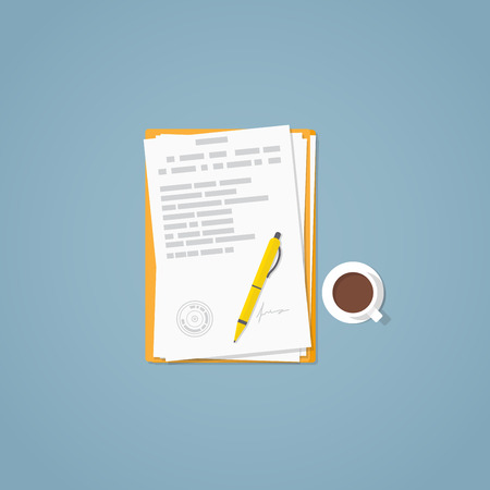 Flat illustration. Documents, golden pen, business papers. Signed agreement.