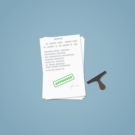 business agreement: Flat illustration. Approved documents, approved stamp, business papers. Signed agreement. Illustration