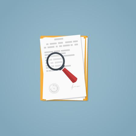 평면 그림입니다. 문서, 돋보기, 비즈니스 서류. 협약 체결. 조사 연구. 스톡 콘텐츠 - 53274489