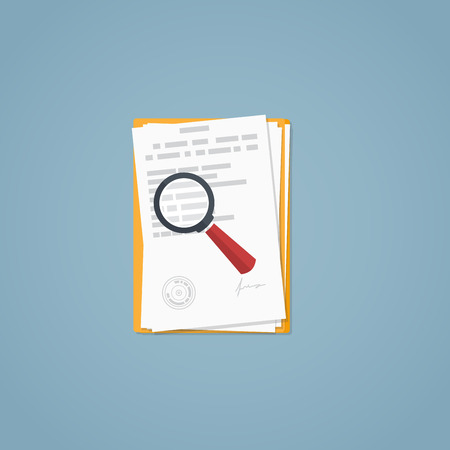 article: Flat illustration. Documents, magnifying glass, business papers. Signed agreement. Investigation research.