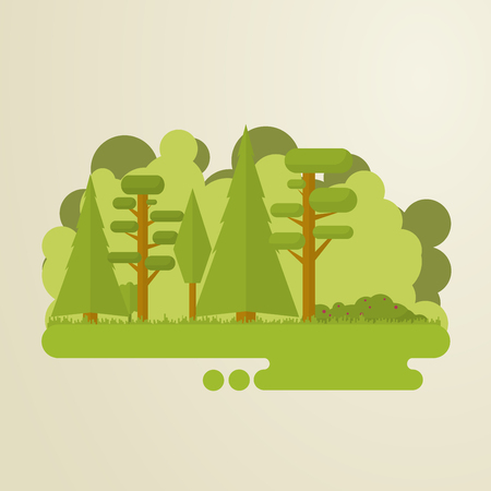 forest cartoon: Set of flat trees in a forest. Woods, grass, bushes, pine-tree.