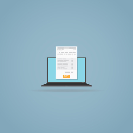Laptop with invoice document. Yellow pay button. Online form. Illustration