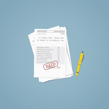 income: Flat illustration. Documents, business papers. Stamped bill.