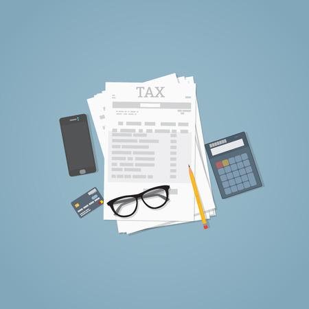 Flache Abbildung. Dokumente, Bleistift, Geschäftspapiere, Rechner, Gläser. Steuerberechnung.