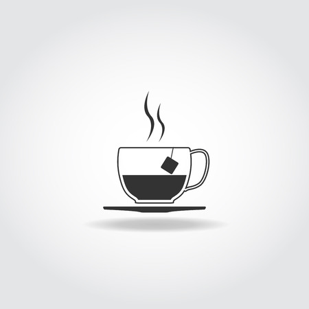 simple meal: Simple black icon with shadow. Tea cup with steam and tea bag.
