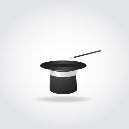 magician hat: Magic hat with with magic wand on white background.