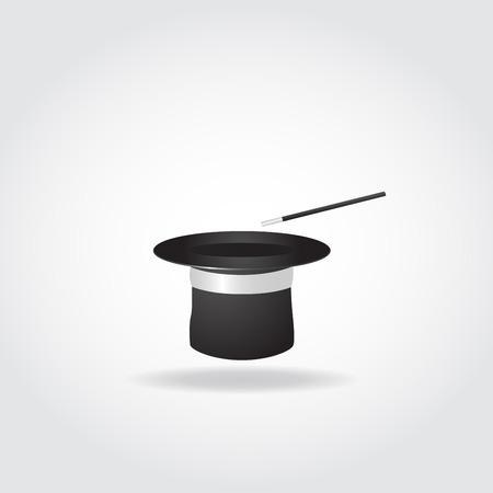 sombrero de mago: sombrero mágico con la varita mágica con el fondo blanco.