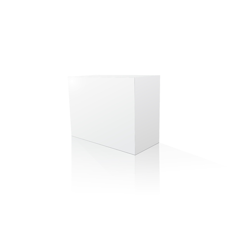 product box: Template of blank white box for product. Rectangle box with shadows and reflection.