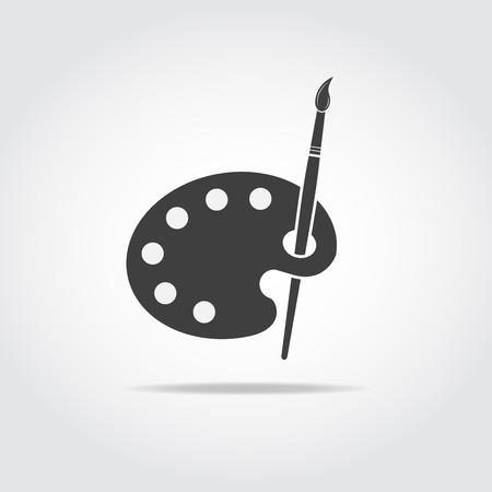 artist palette: Simple black icon of artist palette and brush.