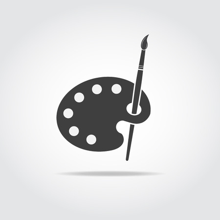 Simple black icon of artist palette and brush.
