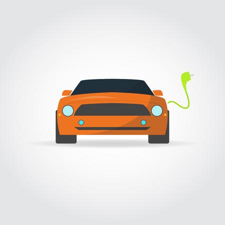 portada: ilustración plana. coches deportivos vista frontal. Cargador y enchufe.