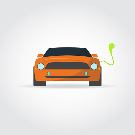 Flat illustration. Sport cars front view. Charger and plug. Illustration