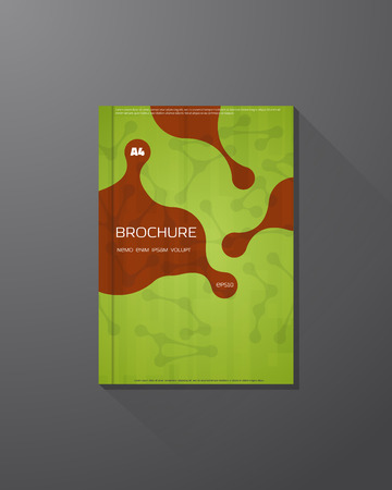 medical abstract: Abstract vector brochure design template. Green color science background. Molecules and liquid drops.