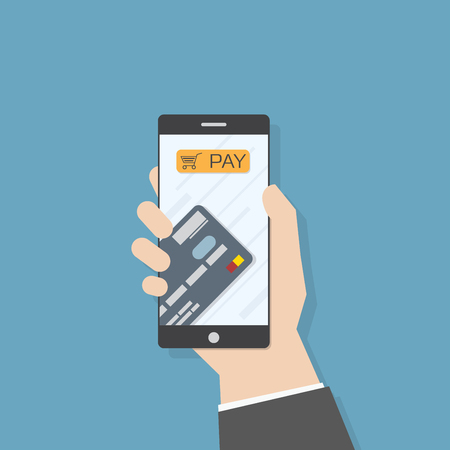 phone button: Simple flat illustration. Hand holding smartphone with credit card and pay button. Phone application template.
