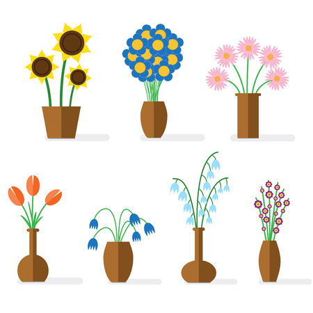 flowers in vase: Flat illustration with shadows. Colorful flowers in brown clay vases.