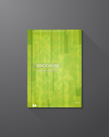 natural color: Abstract vector brochure design template. Green color natural background. Squares and rectangles.