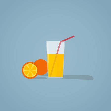 Flat illustration of glass of natural fresh orange juice and orange fruit.