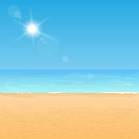 sand: Peaceful beach coast. Calm ocean and yellow sand under bright sunlight.