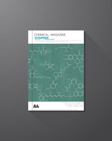 macromolecule: Abstract science and chemical vector brochure design template. Skeletal real vitamins formulas. Illustration
