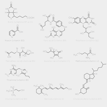 b1: Skeletal formulas of some vitamins. Schematic image of chemical organic molecules, nutrients.