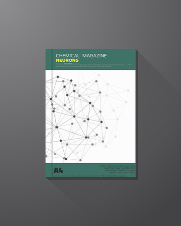 medical report: Abstract science and chemical vector brochure design template. Chemical connections, lines and dots.