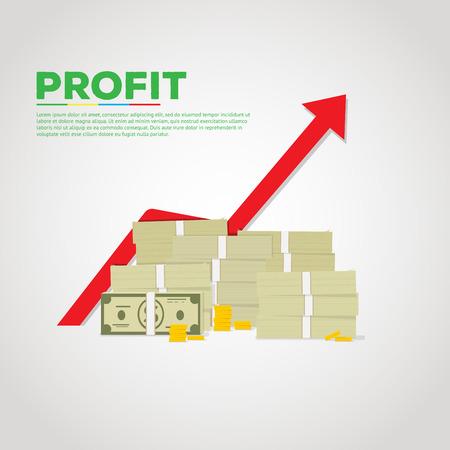 incremento: Ilustración plana de la pila de dólares verdes y monedas de oro. Gráfico de la red flecha ascendente en el backgroung.