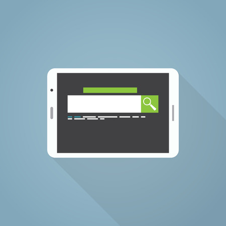 Flat style illustration with long shadow. White tablet and search engine with green search button.