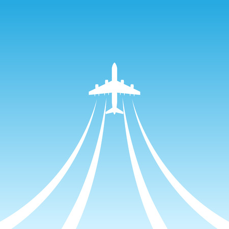 blu: White airplane flying up in the air on blu sky. Illustration